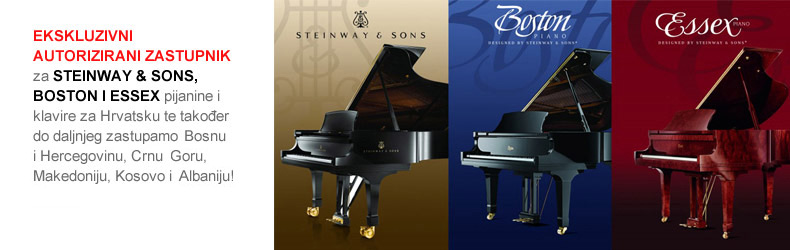 Ekskluzivni autorizirani zastupnik za Steinway & Sons, Boston i Essex